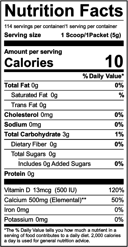 UpCal D Nutrition Facts