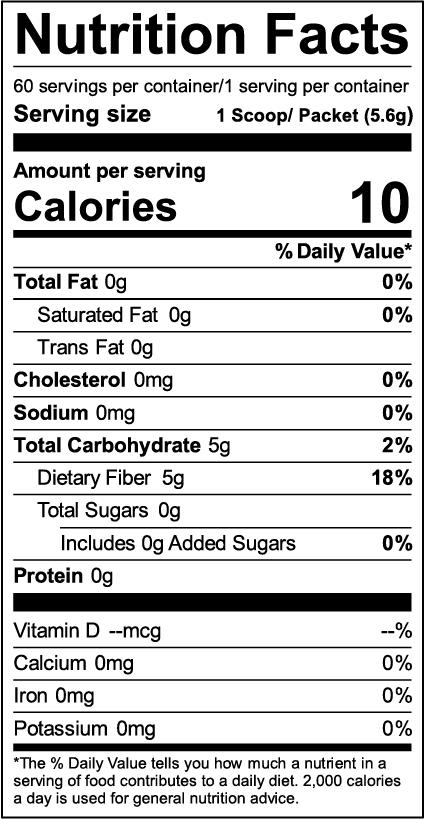 FiberCel Nutrition Facts